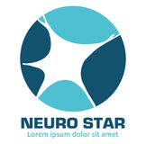 Nervous neurology logo and neurological diseases. Brain, neuralgia, cervical plexus neuralgia, neuralgia and sciatic n. Illustration of the nervous system and Royalty Free Stock Image