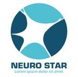 Nervous neurology logo and neurological diseases. Brain, neuralgia, cervical plexus neuralgia, neuralgia and sciatic n Royalty Free Stock Image