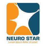 Nervous neurology logo and neurological diseases. Brain, neuralgia, cervical plexus neuralgia, neuralgia and sciatic n Stock Image
