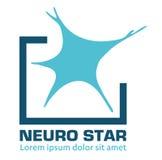 Nervous neurology logo and neurological diseases. Brain, neuralgia, cervical plexus neuralgia, neuralgia and sciatic n Royalty Free Stock Photo