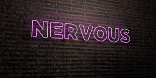 NERVOUS -Realistic Neon Sign on Brick Wall background - 3D rendered royalty free stock image. Can be used for online banner ads and direct mailers Stock Photo