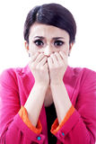 Nervous scared businesswoman Royalty Free Stock Images