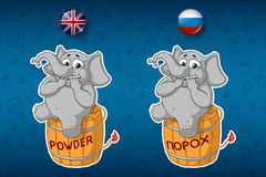 Nervous, sitting on a powder keg. Elephant. Lit the wick. Big set of stickers in English and Russian languages. Vector, cartoon Royalty Free Stock Photos