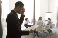 Free Nervous Stressed Sweaty Businessman Speaker Feel Public Speaking Fear Stock Photography - 140988472