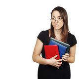 Nervous student waiting to take  exam. Scared female student, isolated on white Royalty Free Stock Images