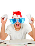 Nervous Teenager in Santa Hat Stock Photo
