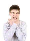 Nervous Teenager. Strangle himself Isolated on the White Background Stock Photo