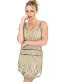 Nervous thoughtful Young Woman Wearing Flapper Dress Stock Photography
