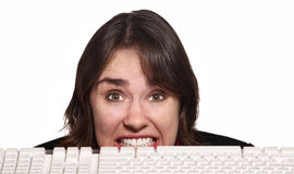 Nervous Woman Behind Keyboard Stock Photos