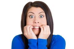 Nervous woman Stock Photos