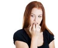 Nervous woman Stock Photo