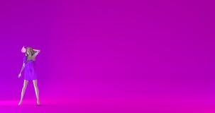 Nervous woman low poly 3d render illustration. Stressed nervous woman, colorful low poly illustration, purple background, 3d render Royalty Free Stock Image