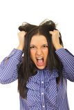 Nervous woman pulls her hair out. And screaming isolated on white background Stock Photography
