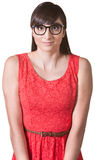 Nervous Woman in Red Dress stock photos