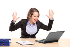 A nervous young businesswoman yelling stock photo