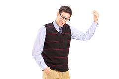A nervous young man gesturing Stock Photo