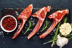 Nervures crues d'agneau avec des ingrédients pour faire cuire sur la table foncée photos libres de droits