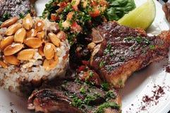 Nervures d'agneau. Cuisine du Moyen-Orient Photos stock