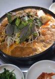 Nervures de porc chaudes de pot de style coréen image libre de droits
