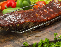 Nervures de porc de BBQ image stock