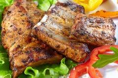 Nervures de porc grillées Photo libre de droits