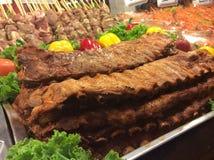 Nervures de porc grillées de BBQ à Pattaya Thaïlande Photographie stock
