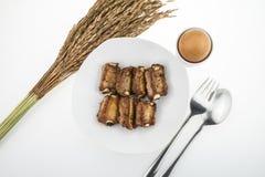 Nervures de porc grillées vue horizontale d'en haut Photos stock