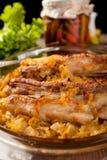 Nervures de rôti de porc avec le chou Image stock