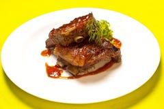 Nervures grillées de viande Image libre de droits