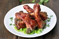 Nervures rôties de porc images stock