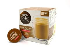 Nescafe Dolce Gusto Cafe au Lait Decaf Coffee. Largs, Scotland, UK - October 04, 2018: Nescafe Dolce Gusto Cafe au Lait Decaf Coffee in recyclable packaging. in royalty free stock photography