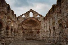 NESEBAR, БОЛГАРИЯ - 12-ое февраля 2017: Загубленная церковь Софии Святого в Nesebar, Болгарии Стоковое Изображение