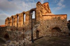 NESEBAR, БОЛГАРИЯ - 12-ое февраля 2017: Загубленная церковь Софии Святого в Nesebar, Болгарии Стоковое фото RF
