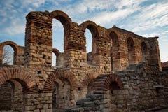 NESEBAR, БОЛГАРИЯ - 12-ое февраля 2017: Загубленная церковь Софии Святого в Nesebar, Болгарии Стоковые Фото