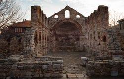 NESEBAR, БОЛГАРИЯ - 12-ое февраля 2017: Загубленная церковь Софии Святого в Nesebar, Болгарии Стоковые Фотографии RF