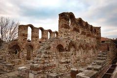 NESEBAR, БОЛГАРИЯ - 12-ое февраля 2017: Загубленная церковь Софии Святого в Nesebar, Болгарии Стоковое Фото