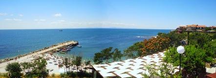 Nesebar beach. Bulgaria. Panoramic view on Nesebar beach on Black sea in Bulgaria Royalty Free Stock Photography