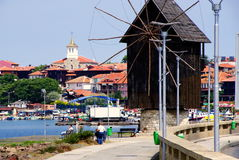 Nesebar, Bulgaria. Black sea coast. The wooden windmill. The wooden windmill - the symbol of Nessebar, on the isthmus before the entrance to the old town of Royalty Free Stock Image