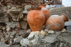 NESEBAR, BULGARIA - February 12, 2017: Ancient pots. The Church of Christ Pantocrator is a medieval Eastern Orthodox church Royalty Free Stock Image