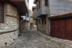 NESEBAR, BULGARIA - February 05, 2017: Bulgarian houses in the town of Nesebar. In 1956 Nesebar was declared as museum city, a. NESEBAR, BULGARIA - February 05 Stock Photos