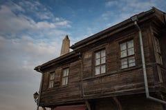 NESEBAR, BULGARIA - February 05, 2017: Bulgarian houses in the town of Nesebar. In 1956 Nesebar was declared as museum city, a Stock Images