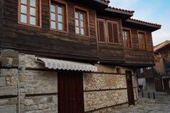 NESEBAR, BULGARIA - February 05, 2017: Bulgarian houses in the town of Nesebar. In 1956 Nesebar was declared as museum city, a Royalty Free Stock Photography