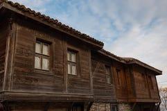 NESEBAR, BULGARIA - February 05, 2017: Bulgarian houses in the town of Nesebar. In 1956 Nesebar was declared as museum city, a Stock Photo