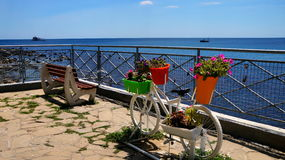 Nesebar Bulgaria. Old town bike art. Nessebar Bulgaria, Black sea coast. Sea promenade in the old town with panoramic views of the sea and bike art Stock Image