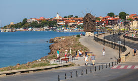 Nesebar, Bulgaria. Road and old windmill Stock Photos