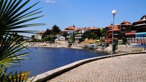 Nesebar Bulgaria. Sea front promenade in Nessebar Old town Stock Photos