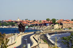 Nesebar Bulgaria. View of Nessebar Old town. Nessebar Bulgaria, Black sea coast. View of the Old town Nessebar, wind mill and sea Royalty Free Stock Photography