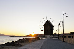 Nesebar mill in the morning sunrise Stock Images