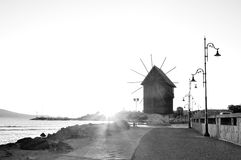 Nesebar mill in the morning sunrise Royalty Free Stock Images