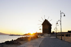 Nesebar mill in the morning sunrise Royalty Free Stock Photography